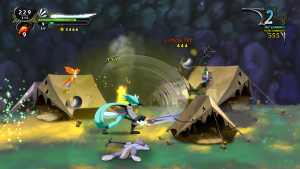 This is Dust.  Another side scroller that demonstrates wonderful Ui elements, animation, particle effects, and everything else a polished title deserving of it's price of $14.99 has to offer.