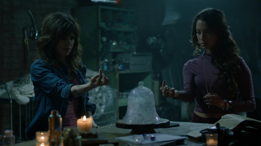 """THE MAGICIANS - """"Impractical Applications"""" Episode 106 - Pictured: (l-r) Amy Pietz as Hannah, Stella Maeve as Julia - (Photo by Syfy)"""