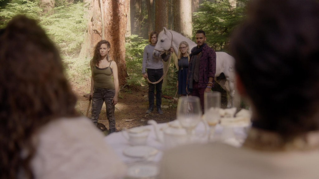 """THE MAGICIANS - """"Impractical Applications"""" Episode 106 - Pictured: (l-r) Jade Tailor, Jason Ralph, Olivia Taylor Dudley, Arjun Gupta - (Photo by Syfy)"""