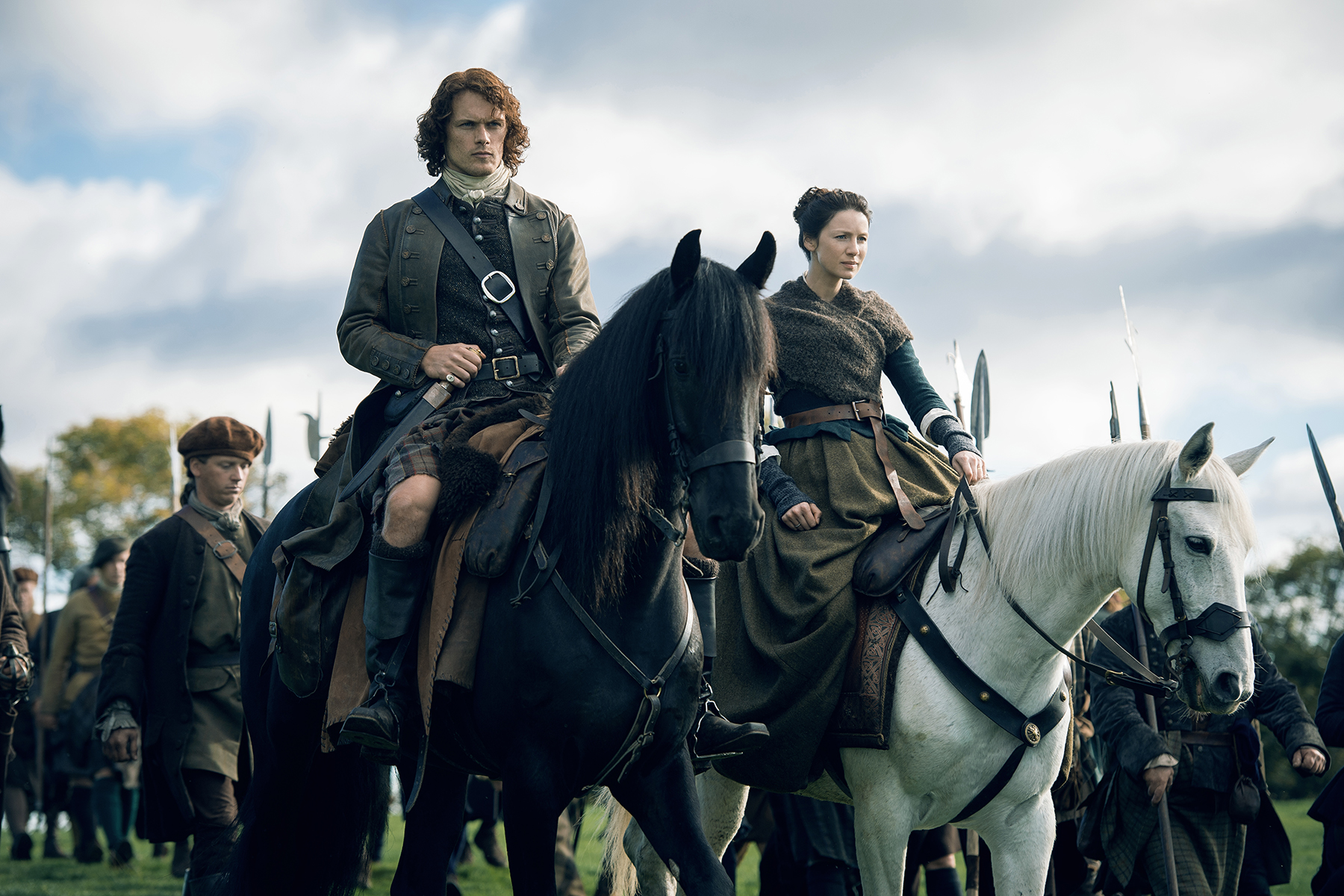 And my beloved Frasers will have come back to me. (On left, Sam Heughan as Jamie Fraser. On right, Caitriona Balfe as Claire Fraser. Courtesy Starz.)