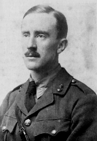 """JRR Tolkien in 1916. This man wrote about eleves singing to the stars and hobbits smoking """"pipe weed"""". He would probably approve of you drinking half a bottle of wine and coloring pictures of dwarves. [Courtesy Wikimedia Commons]"""